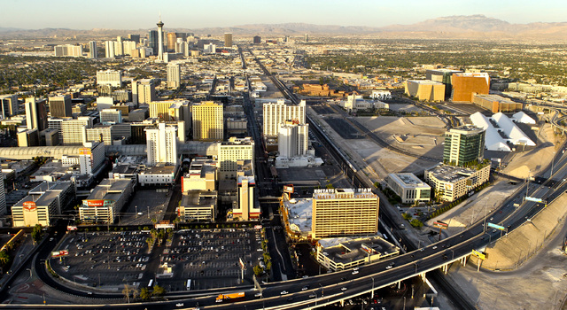 Aerial photo of downtown Las Vegas