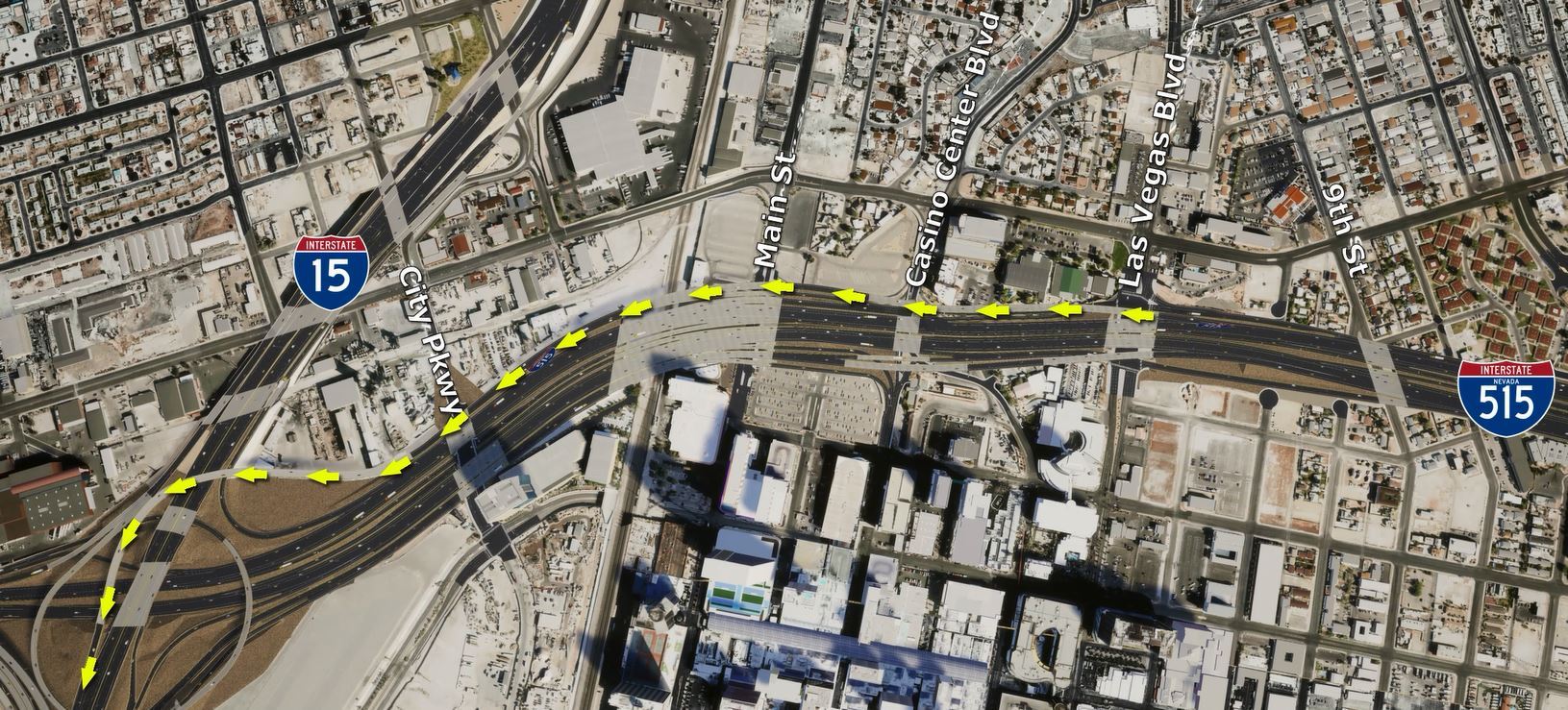 Proposed Northbound I-15, I-515 merge point.