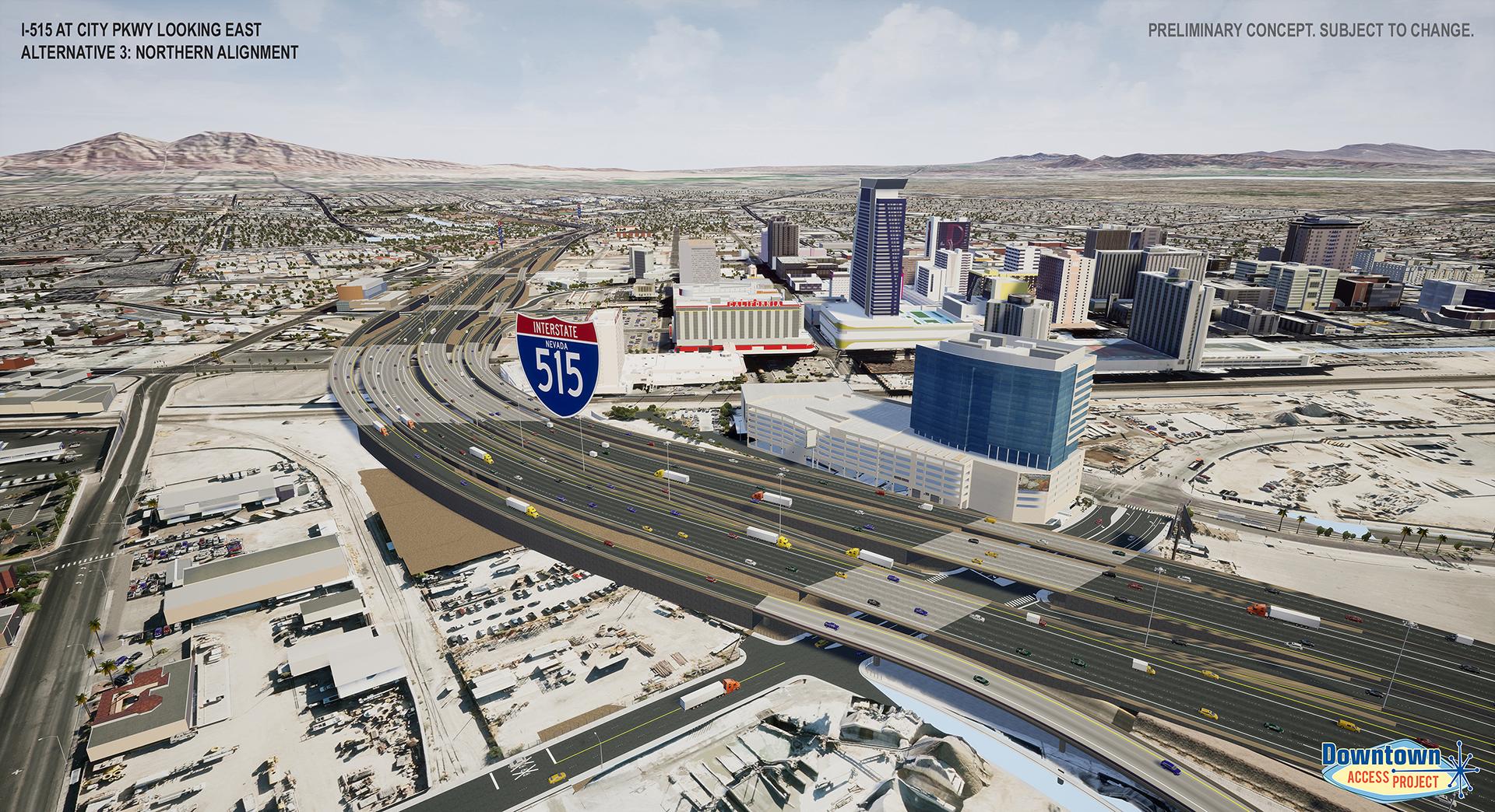 I-515 near city parkway alternative 3 rendering