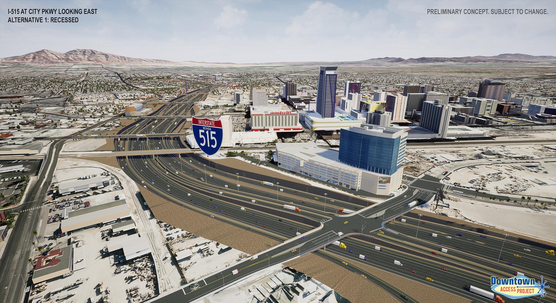 I-515 near city parkway alternative 1 rendering