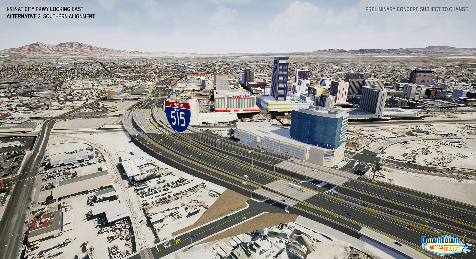 I-515 near city parkway alternative 2 rendering