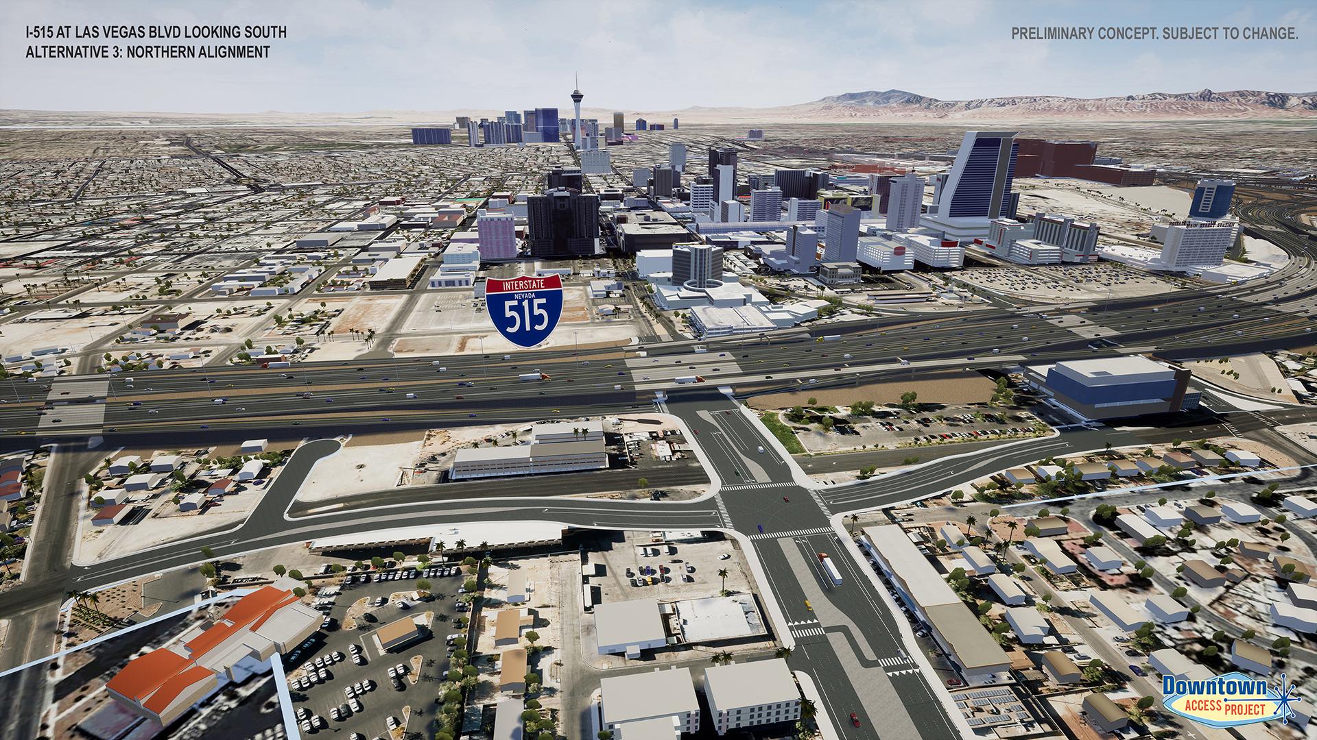 I-515 near las vegas blvd alternative 3 rendering