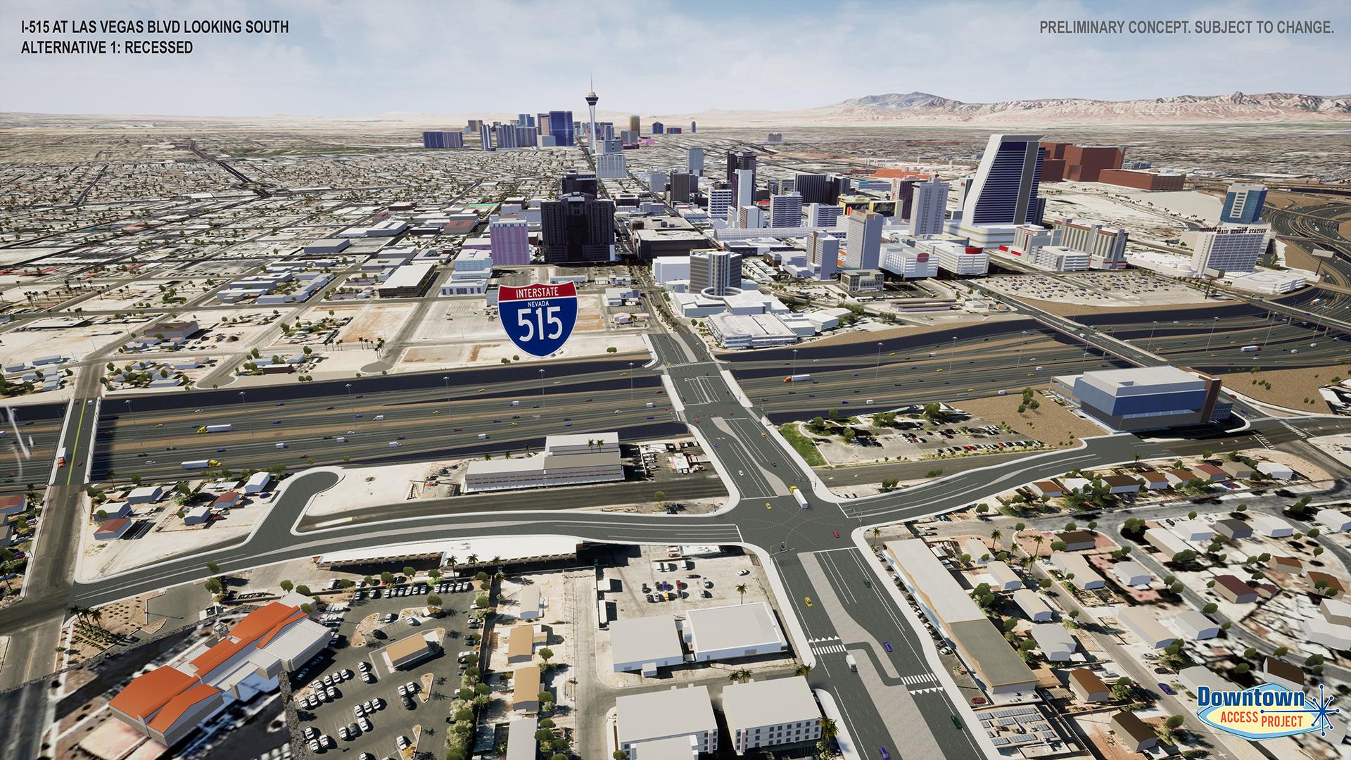 I-515 near las vegas blvd alternative 1 rendering