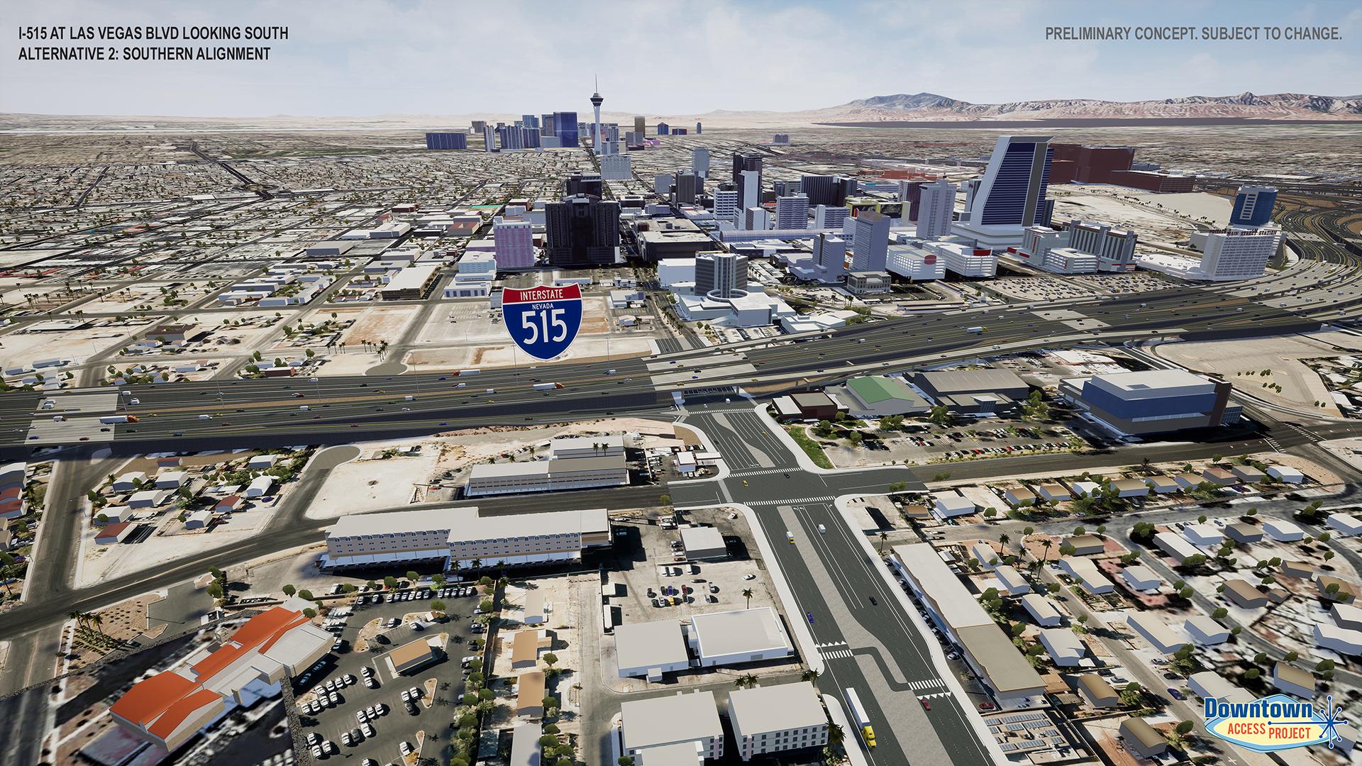I-515 near las vegas blvd alternative 2 rendering