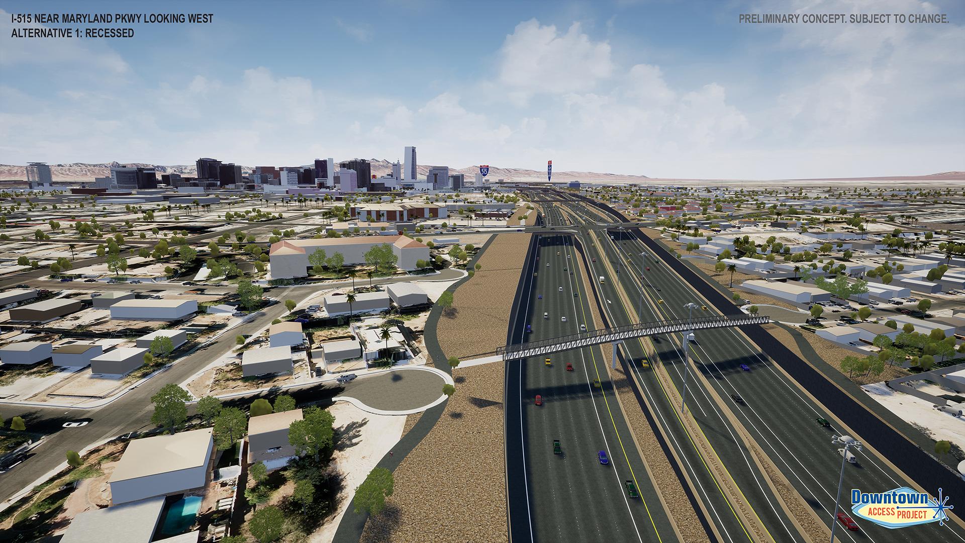 I-515 near maryland parkway alternative 1 rendering