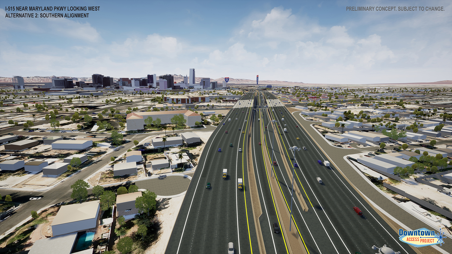 I-515 near maryland parkway alternative 2 rendering