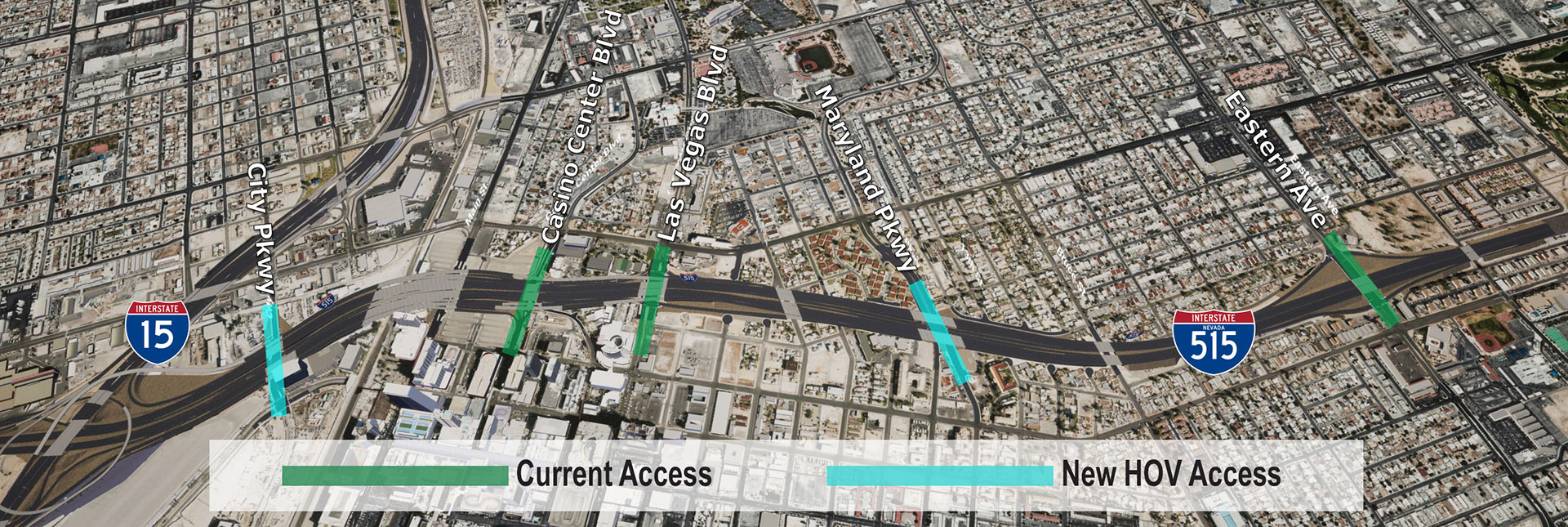 Map showing locations for new proposed HOV access points.