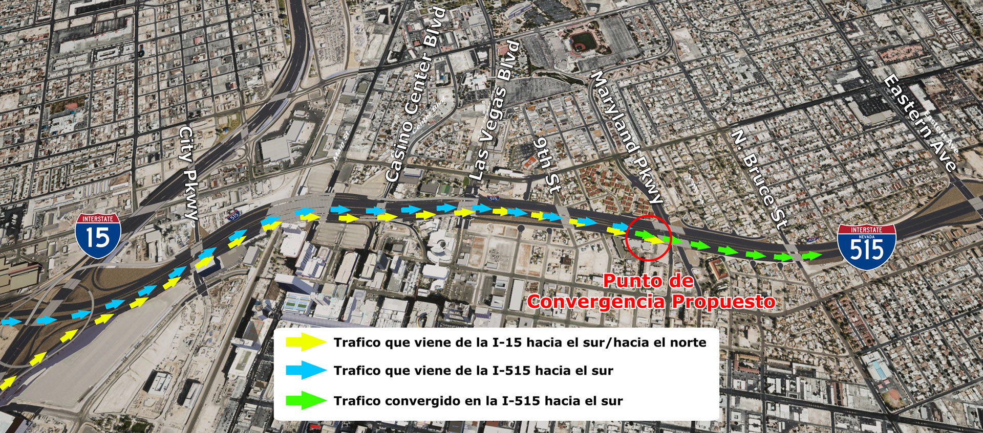 Proposed Southbound I-15, I-515 merge point.