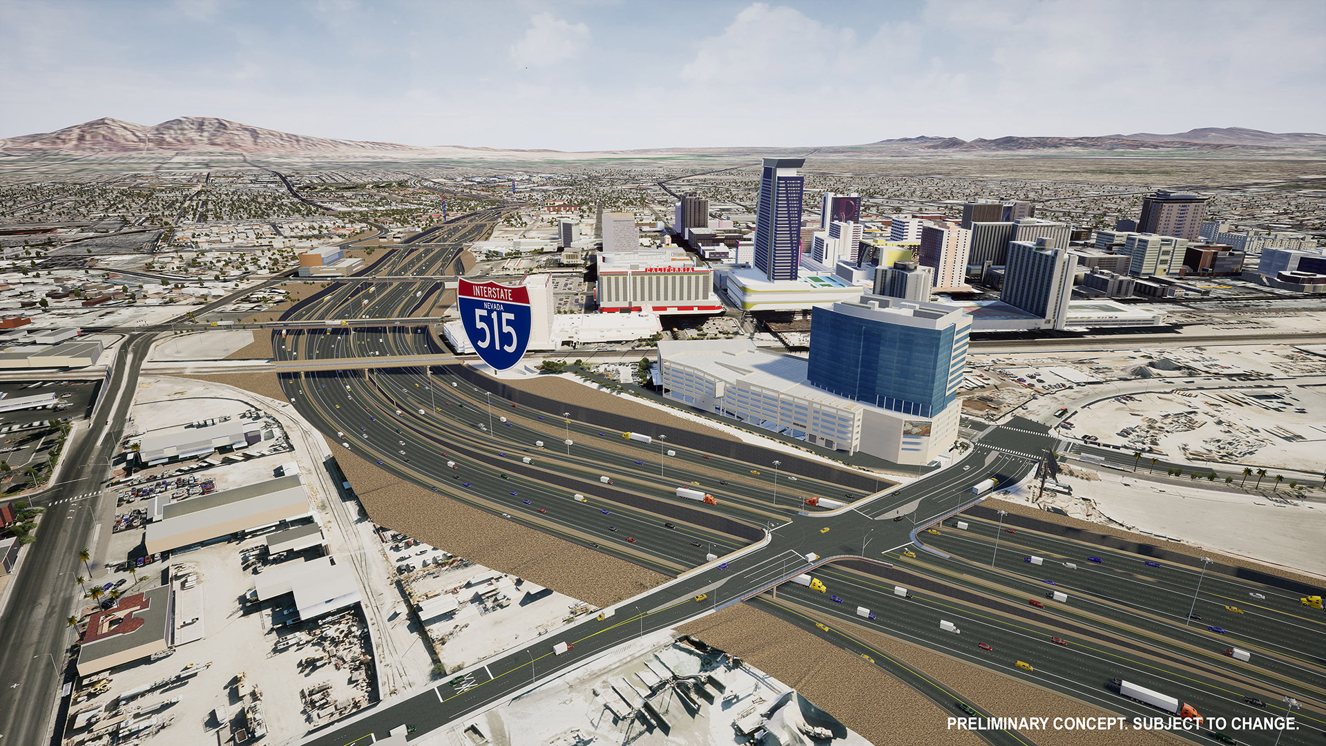 Rendering of potential I-515 improvements