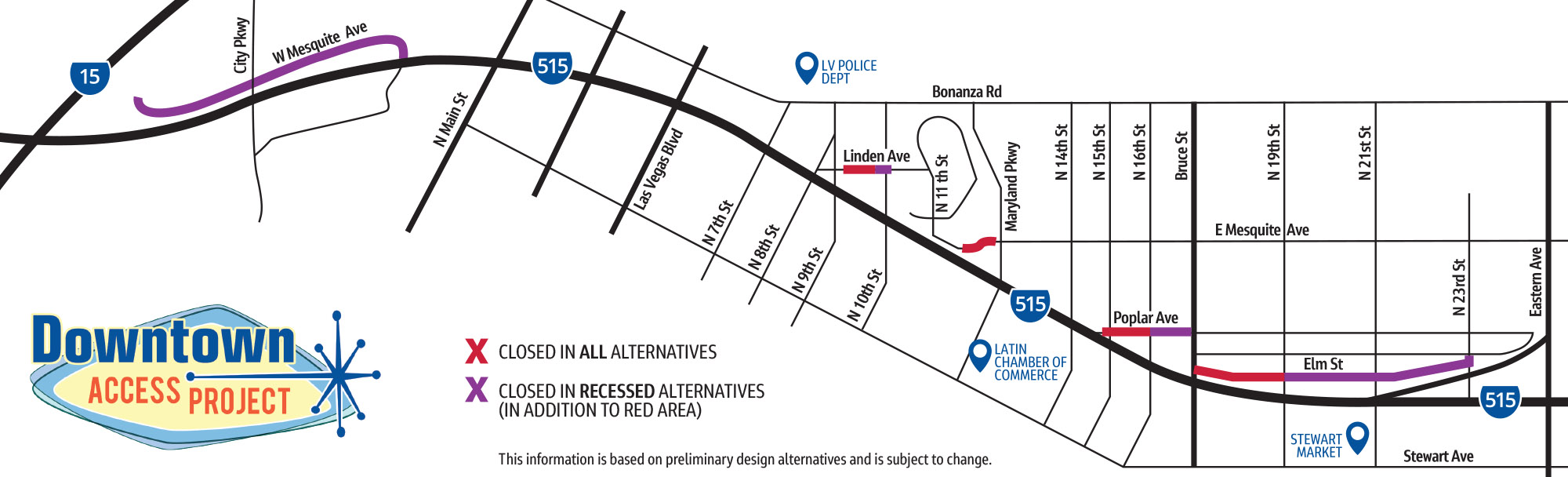 Map of street closures for various alternatives.