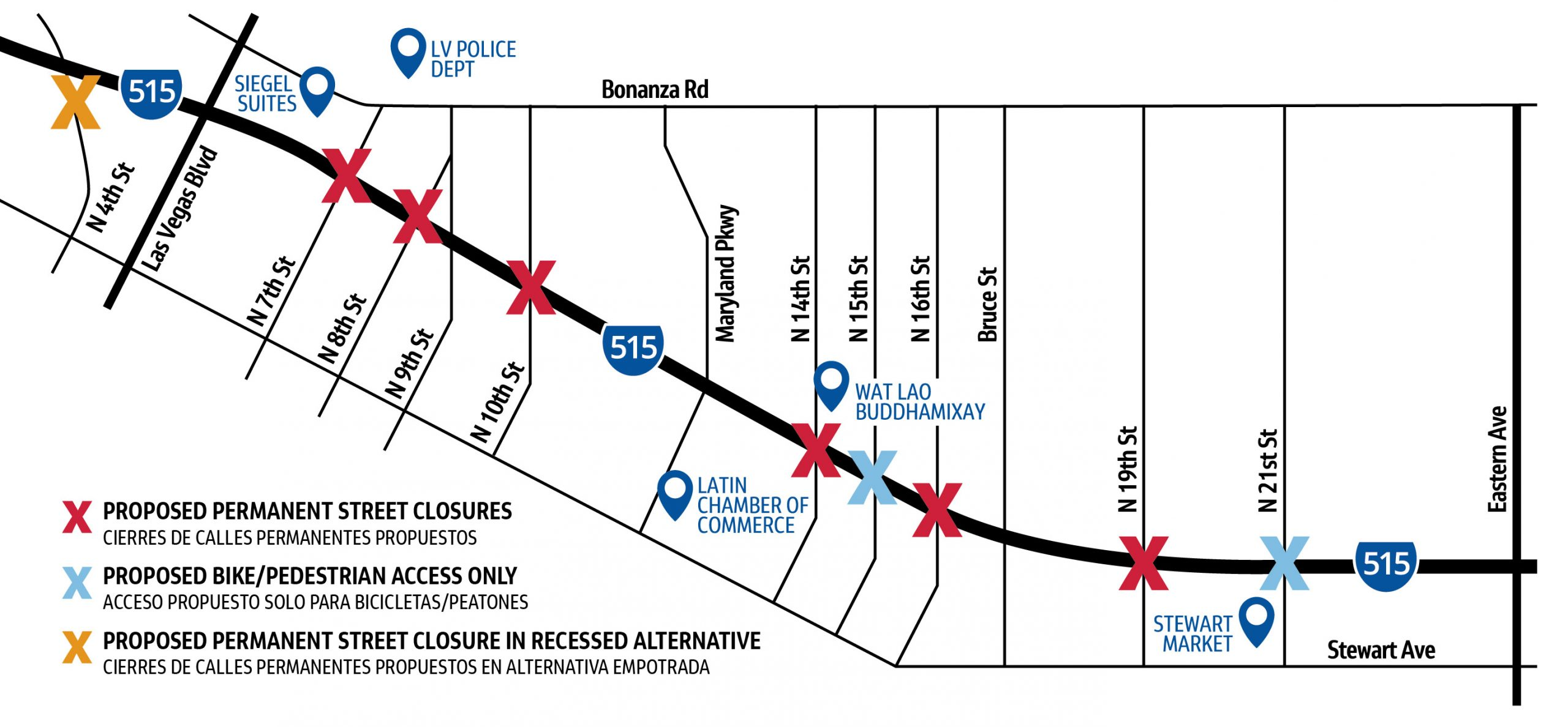 Map of potential street closures.