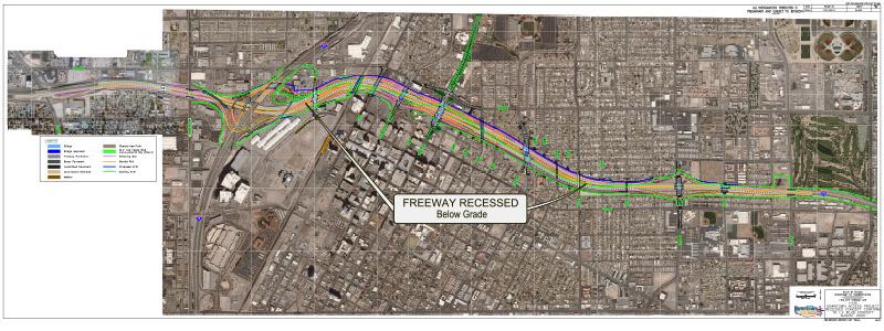 Map of Alternative 1: Recess Freeway