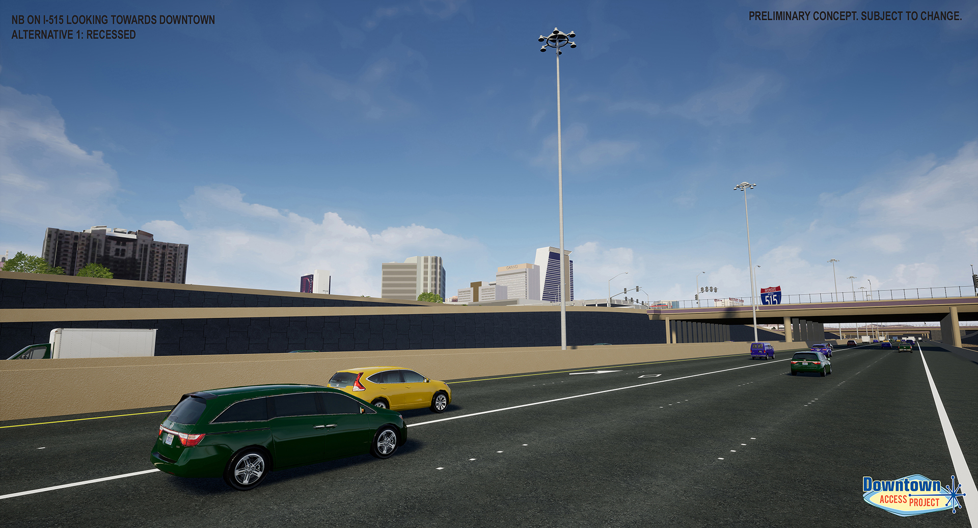 Driver View of Downtown from Proposed Design Alternatives